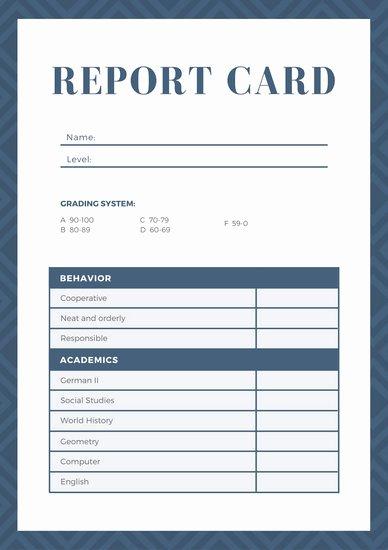 Homeschool Report Card Template Elegant Navy Blue Geometric Homeschool Report Card Templates by