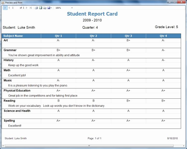 Homeschool Report Card Template Free Unique Homeschool Report Card Template Free