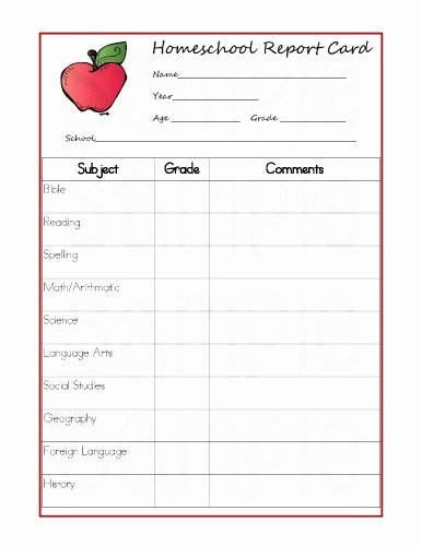 Homeschool Report Card Template Luxury Report Card Template Free 2016