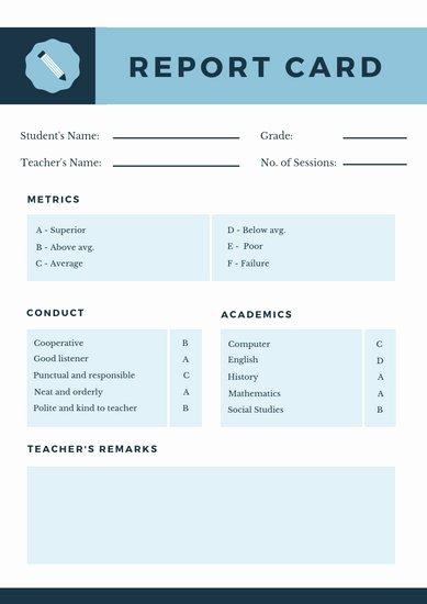 Homeschool Report Card Template New Customize 9 033 Report Card Templates Online Canva