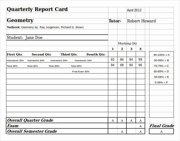 Homeschool Report Card Template New Sample Homeschool Report Card 7 Documents In Pdf Word