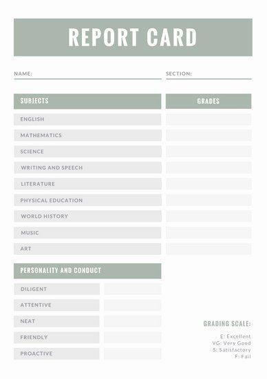Homeschool Report Card Template Unique Customize 36 Homeschool Report Card Templates Online Canva