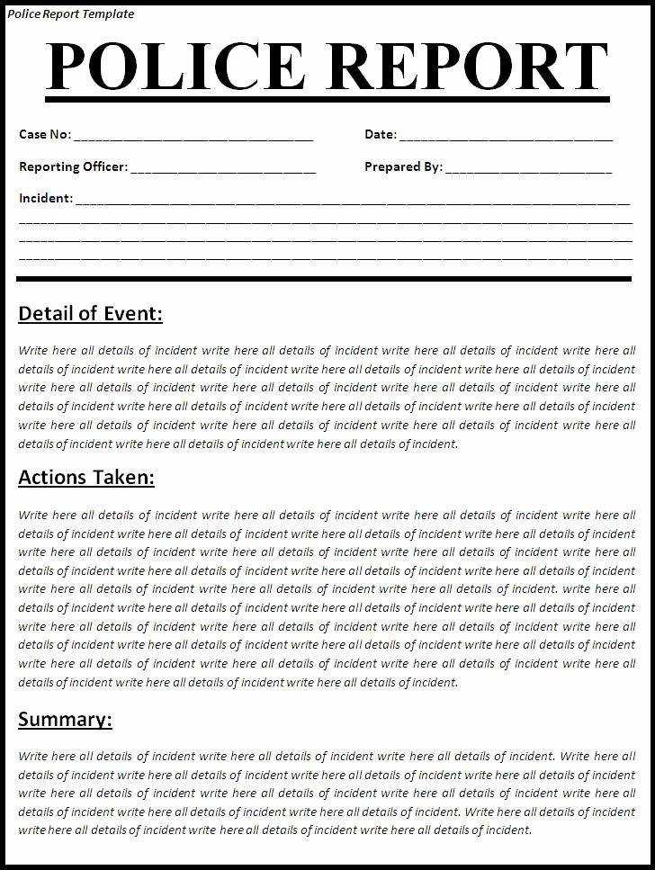 Homicide Police Report Template Awesome Printable Sample Police Report Template form