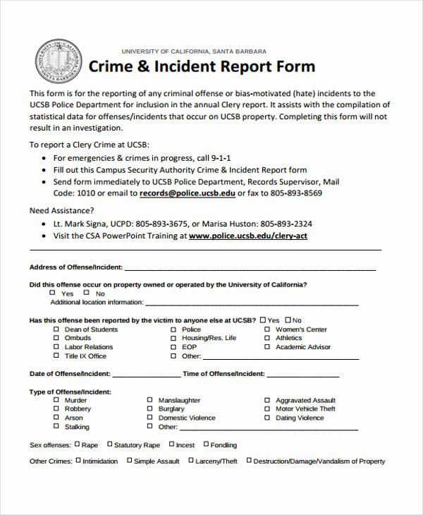 Homicide Police Report Template New Free 40 Sample Incident Report forms In Pdf