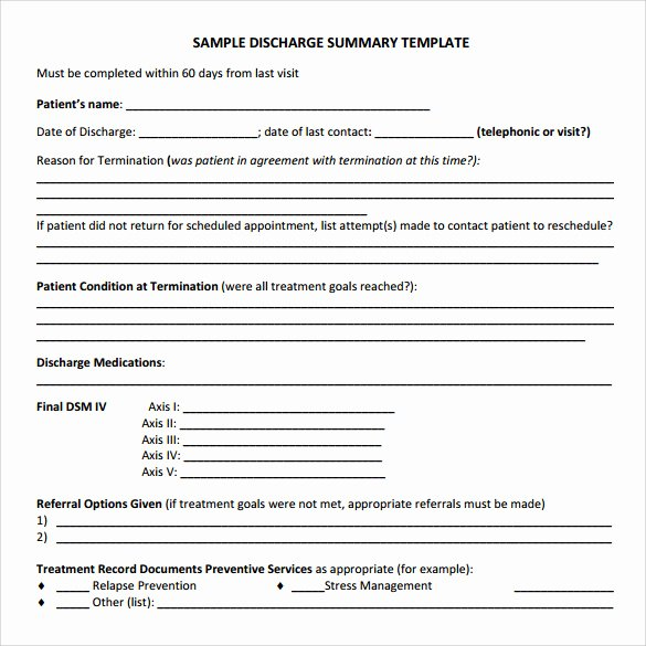Hospital Discharge forms Templates Beautiful Sample Discharge Summary 10 Documents In Pdf Word