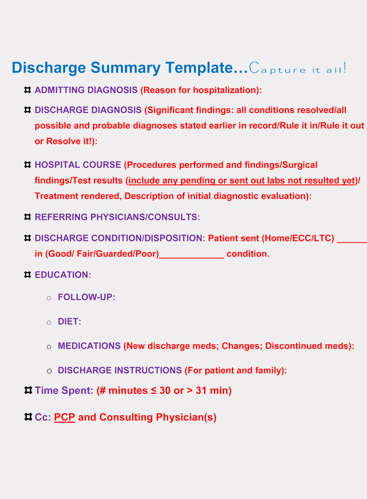 discharge summary forms general format