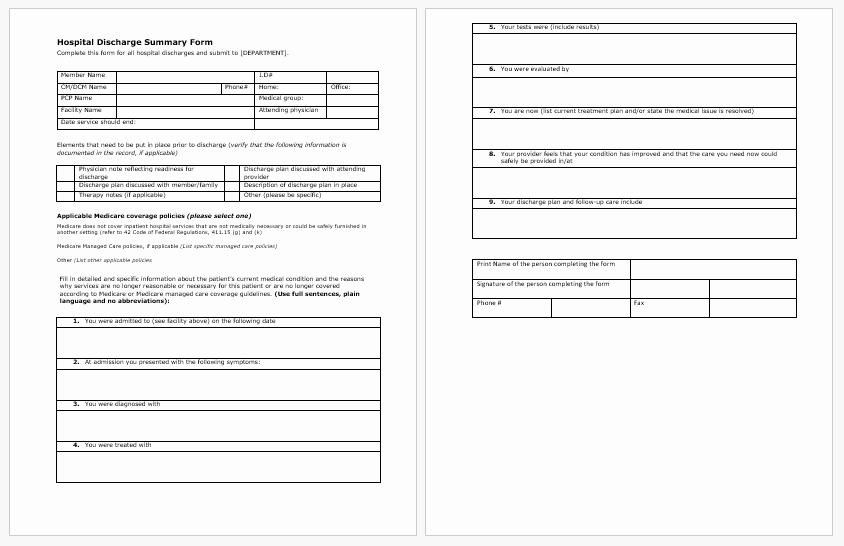 Hospital Discharge forms Templates New Hospital Discharge Paper Template for Word