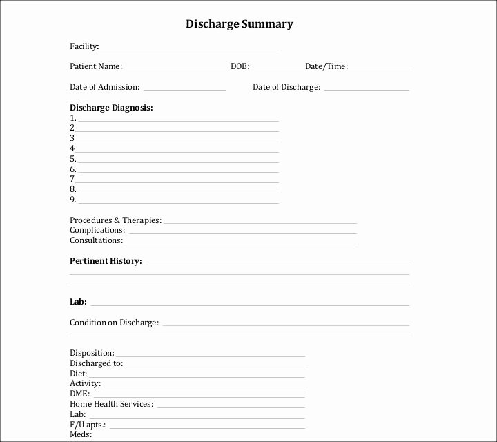 Hospital Discharge Papers Template Fresh 9 Discharge Summary Templates Pdf Doc
