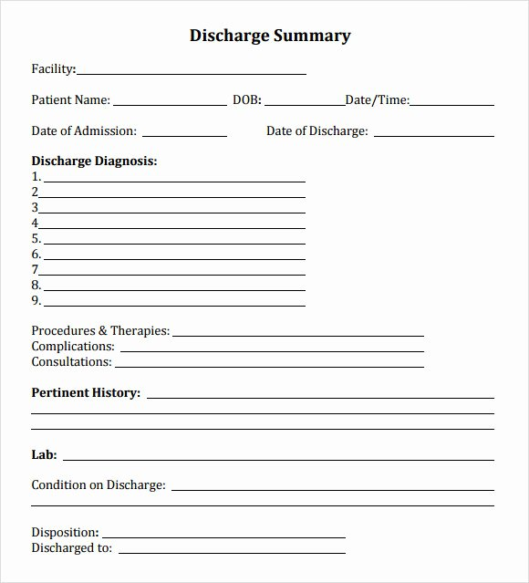 Hospital Discharge Papers Template Lovely 8 Sample Discharge Summary Templates Pdf Word