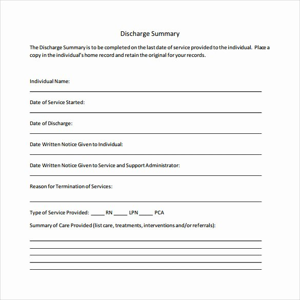 Hospital Discharge Summary Template Awesome Sample Discharge Summary 10 Documents In Pdf Word