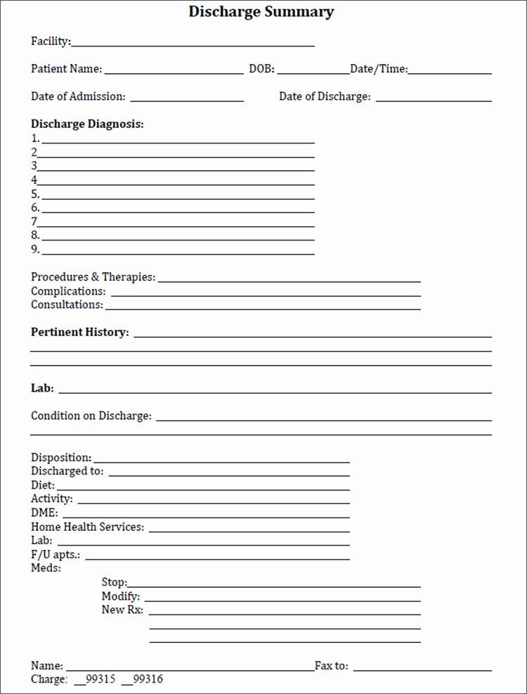 Hospital Discharge Summary Template Beautiful 6 Discharge Summary Template Free Pdf Word Excel formats