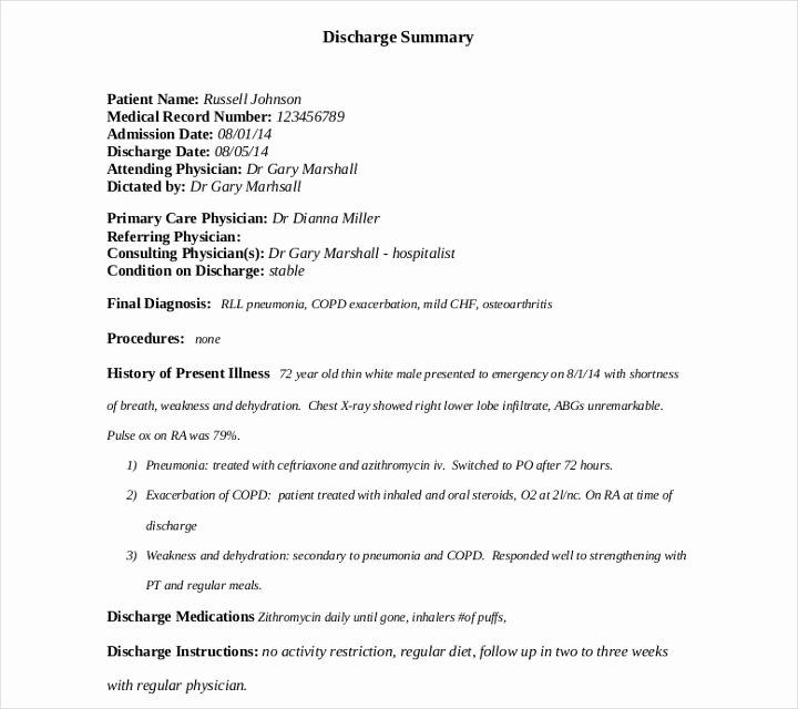 Hospital Discharge Summary Template Elegant 9 Discharge Summary Templates Pdf Doc