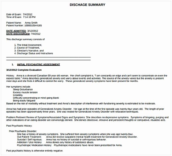 Hospital Discharge Summary Template Elegant Discharge Summary Template