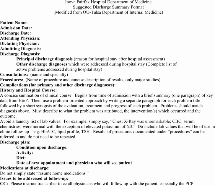 Hospital Discharge Summary Template Elegant Free Discharge Summary Template Pdf 15kb