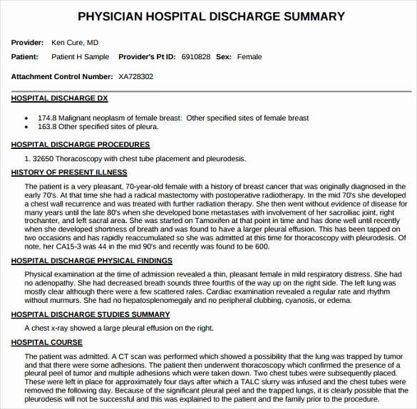 Hospital Discharge Summary Template Unique Sample Discharge Summary 13 Documents In Word Pdf