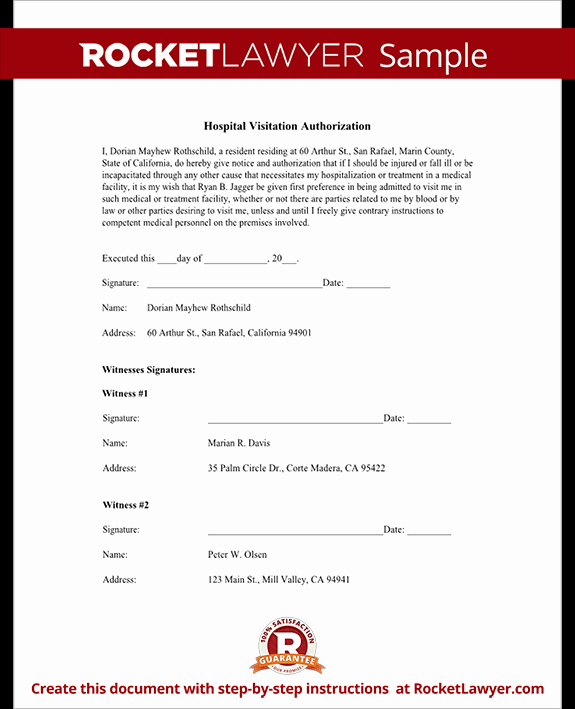 Hospital Release form Template Awesome Hospital Visitation Authorization form with Sample