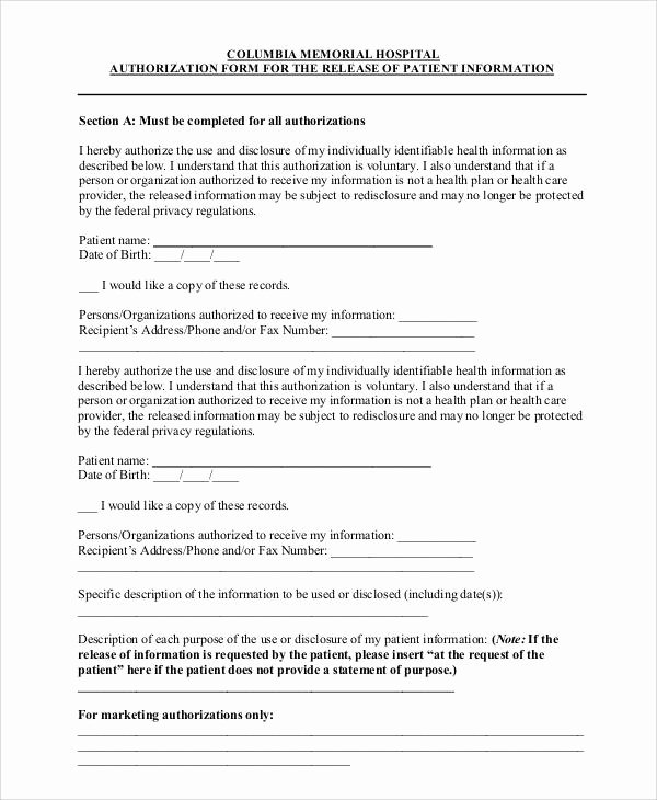 Hospital Release form Template Elegant 47 Printable Release form Samples & Templates Pdf Doc