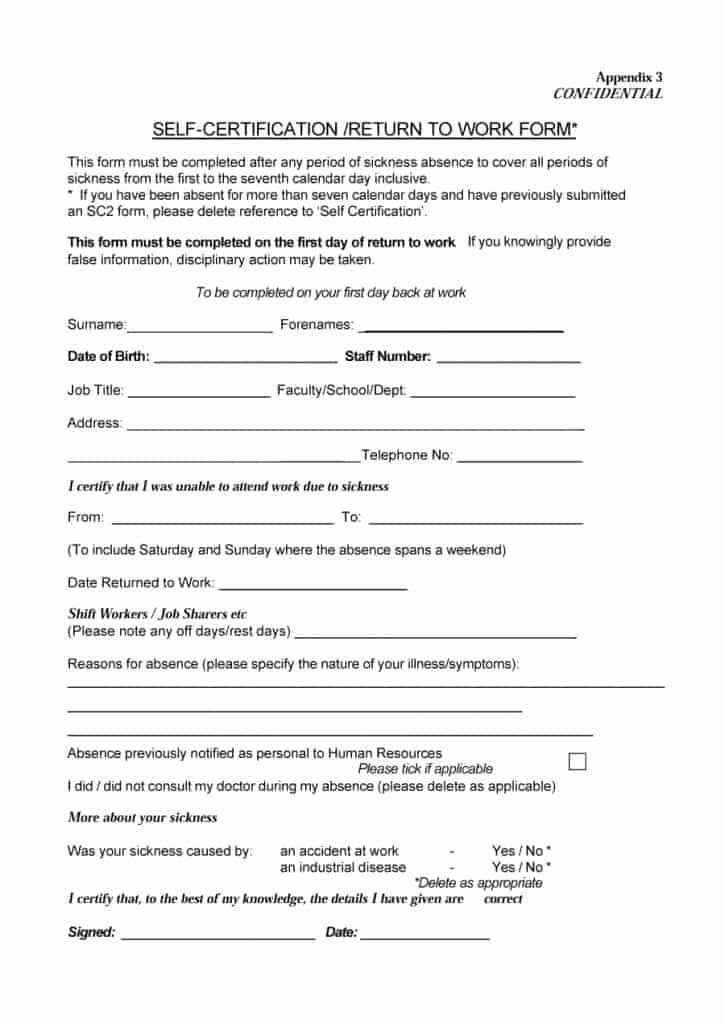 Hospital Release form Template Lovely 44 Return to Work & Work Release forms Printable Templates