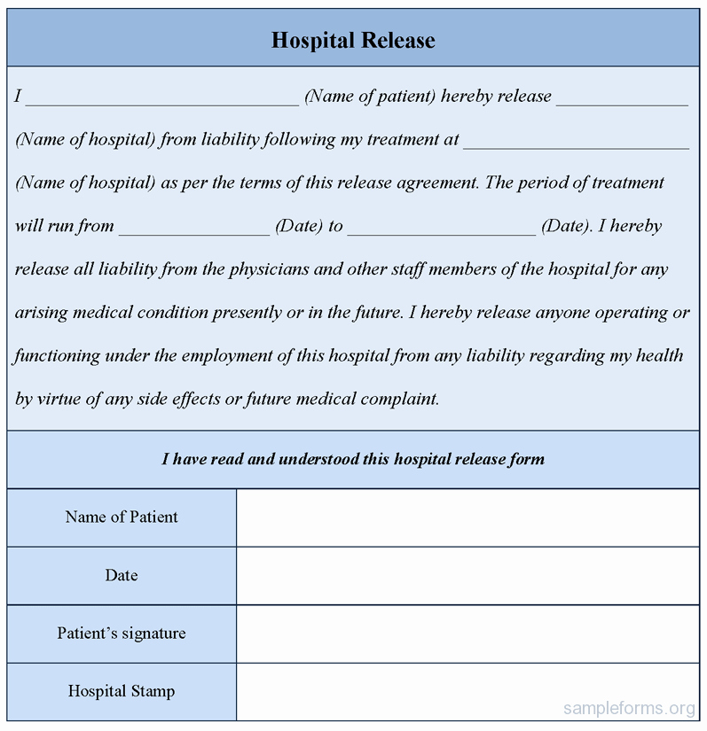 Hospital Release form Template Lovely Hospital Release form Sample forms