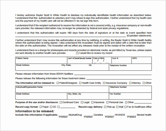 Hospital Release form Template Luxury Sample Hospital Release form 11 Download Free Documents