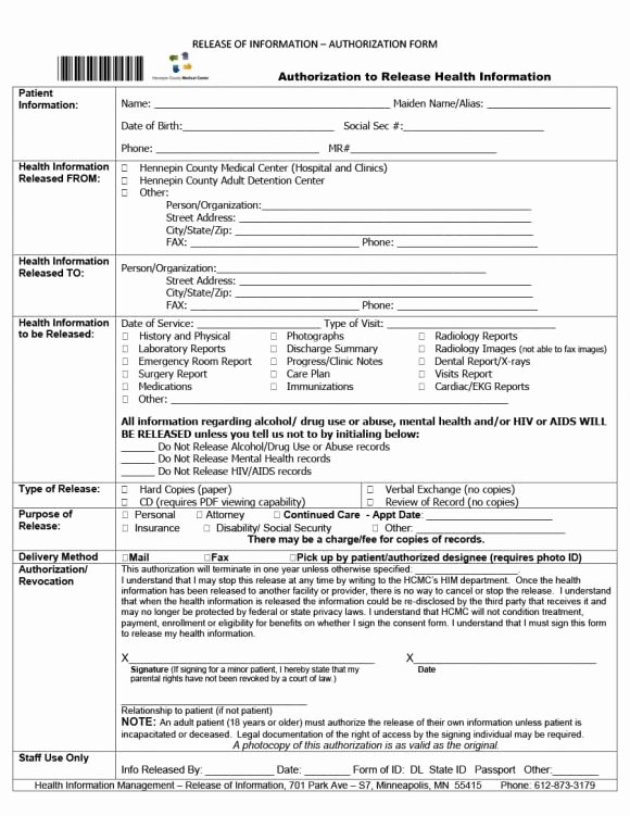 Hospital Release form Template New 40 Medical Records Release form Release Of Information