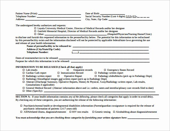 Hospital Release form Template New Sample Hospital Release form 11 Download Free Documents