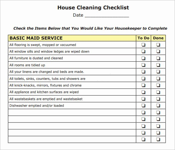 House Cleaning Checklist Template New Sample House Cleaning Checklist 12 Documents In Pdf Word