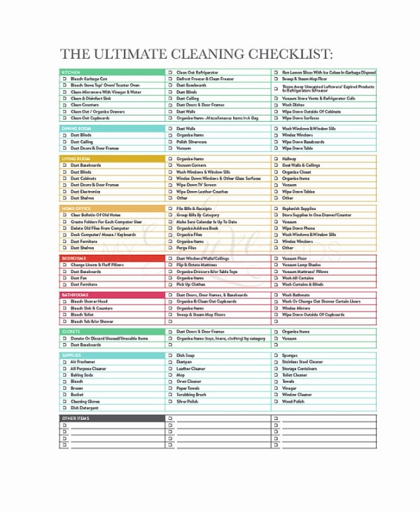 House Cleaning Checklist Template Unique Cleaning Checklist 31 Word Pdf Psd Documents Download
