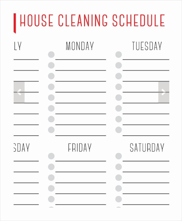 House Cleaning Schedule Template Beautiful House Cleaning Schedule 16 Free Word Pdf Psd
