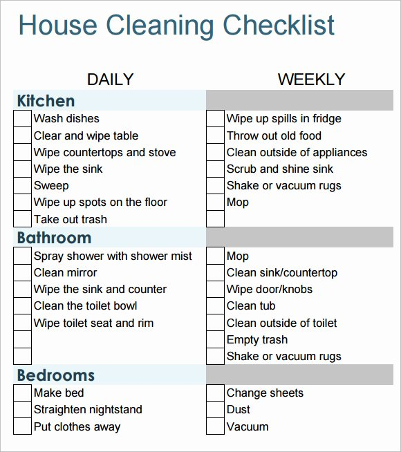 House Cleaning Schedule Template Inspirational Sample House Cleaning Checklist 12 Documents In Pdf Word