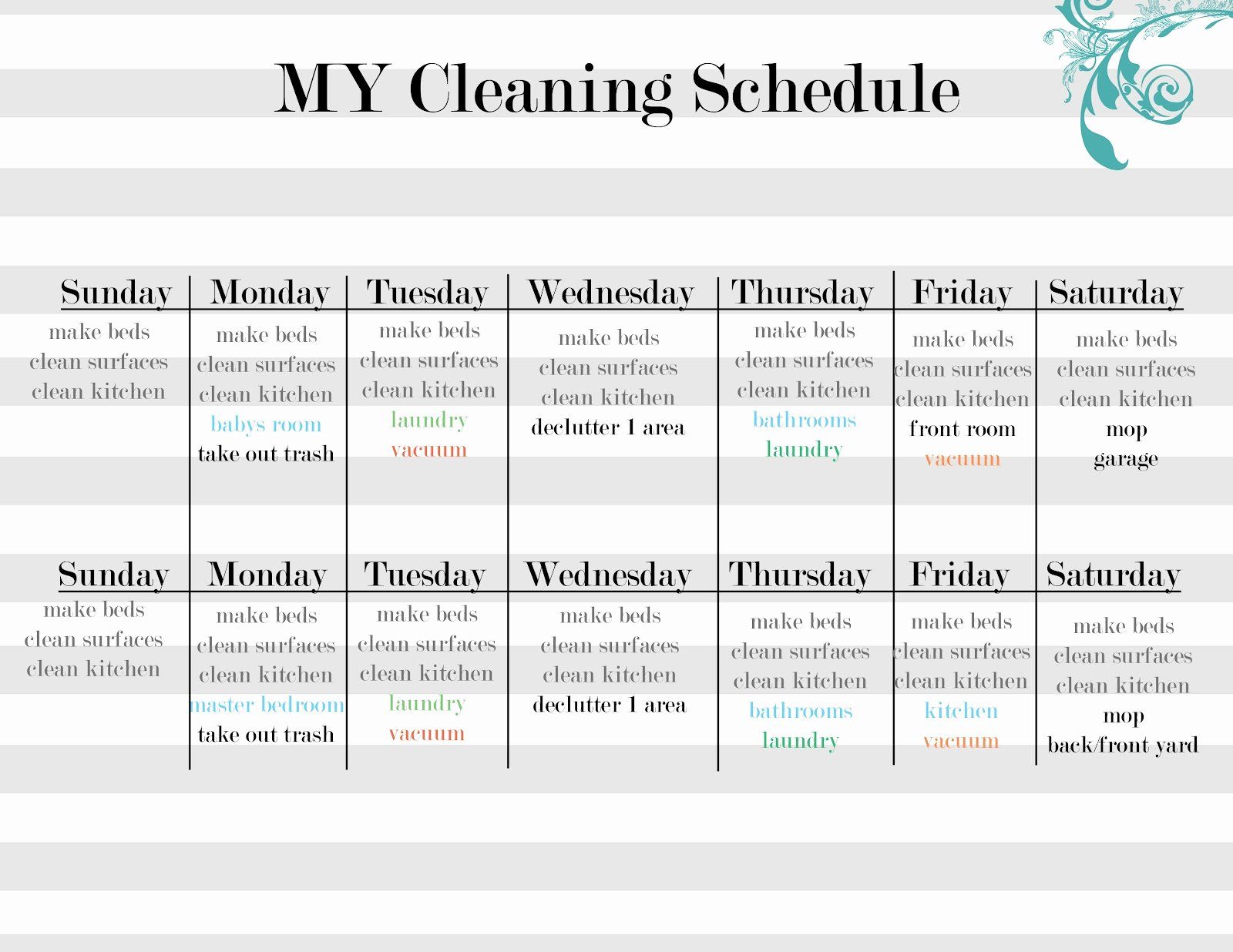House Cleaning Schedule Template Luxury Sissyprint Maintaining the Tidy Guest Post Vintage Lemon