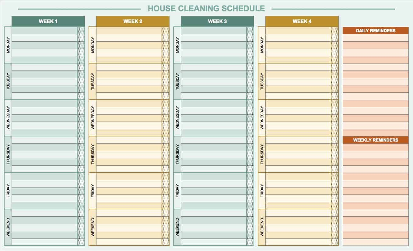 House Cleaning Schedule Template Unique Free Daily Schedule Templates for Excel Smartsheet