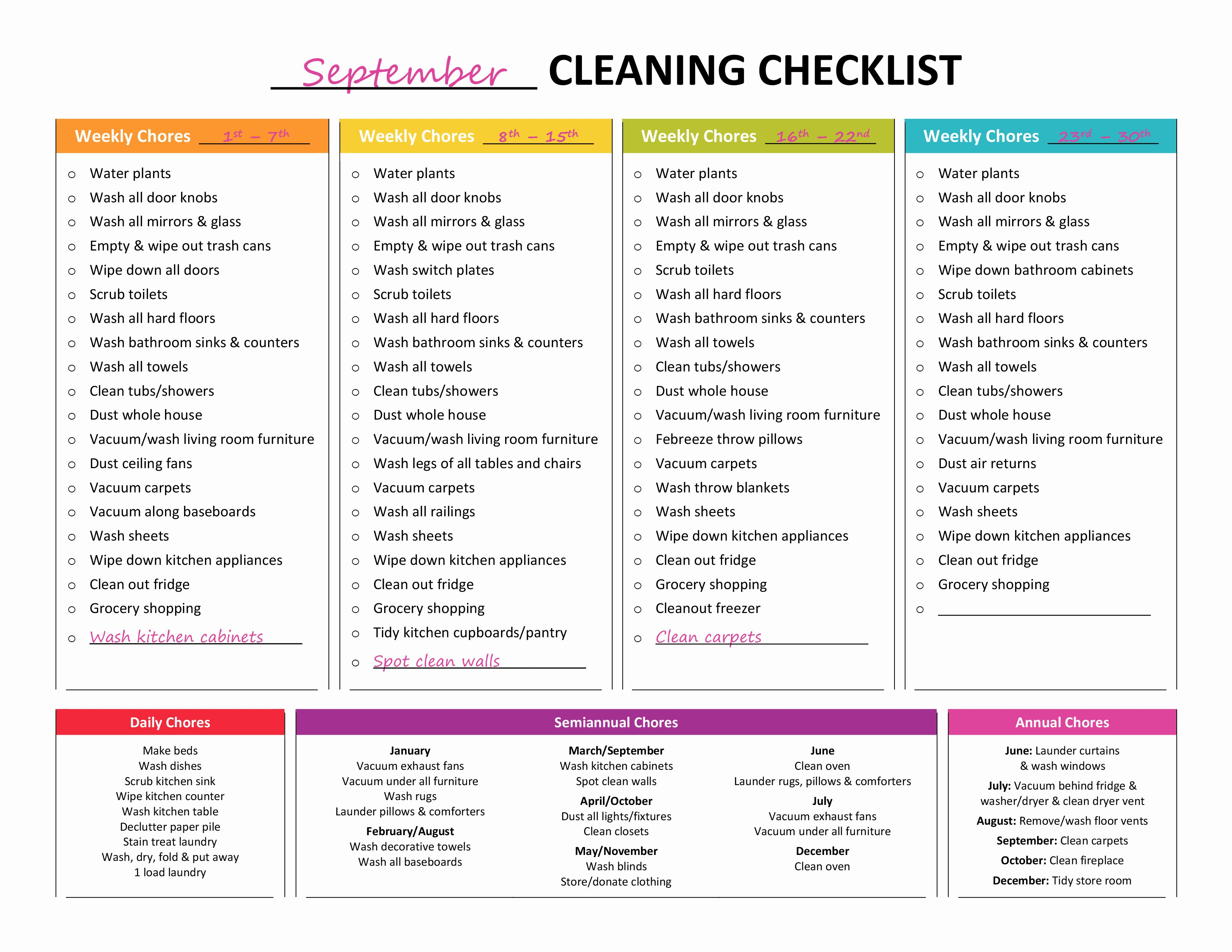 House Cleaning Schedule Template Unique Plete Housekeeping Printable Set