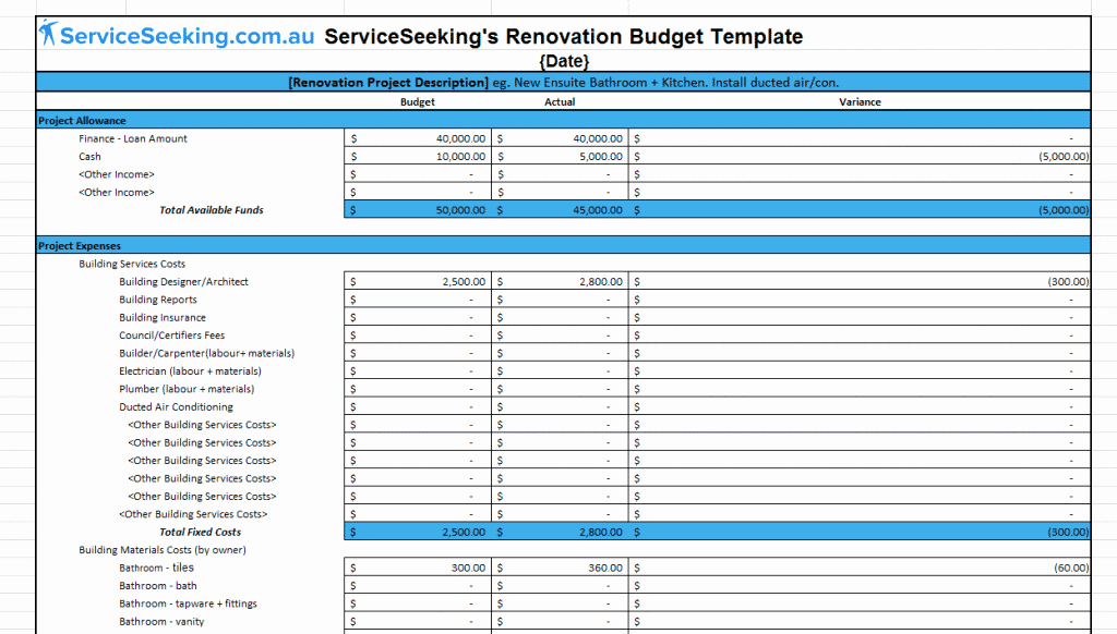 House Renovation Checklist Template Awesome Renovation Bud Template