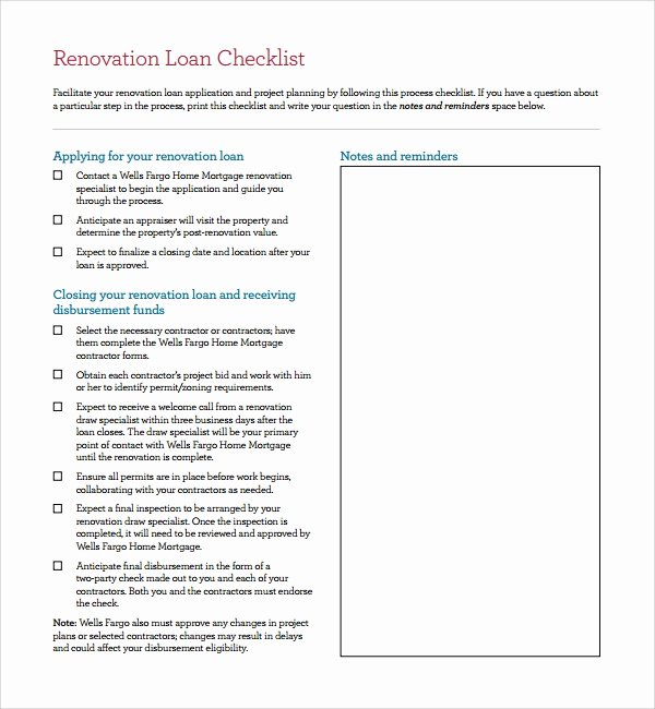 House Renovation Checklist Template Elegant Sample Renovation Checklist Template 11 Free Documents