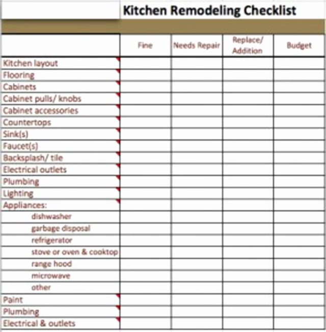 House Renovation Checklist Template Luxury Kitchen Remodel Checklist Excel Bud