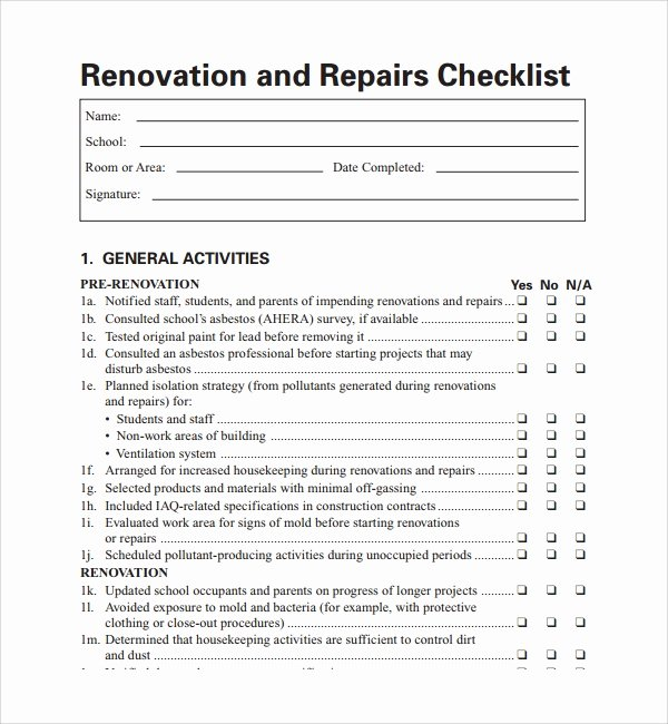 House Renovation Checklist Template New Sample Renovation Checklist Template 11 Free Documents