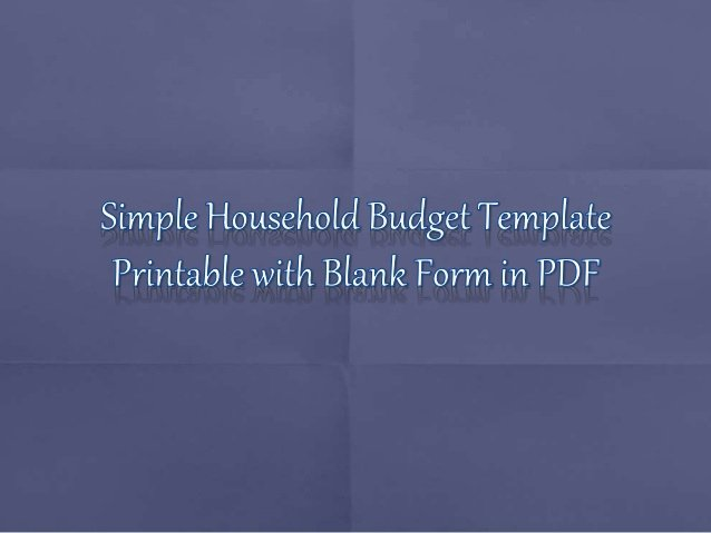 Household Budget Template Pdf Best Of Simple Household Bud Template to Print Blank form In