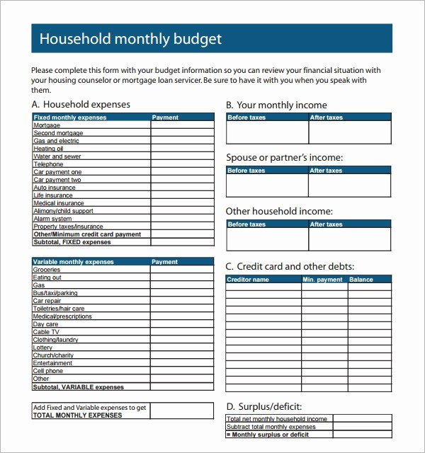 Household Budget Template Pdf Inspirational Sample Family Bud 12 Documents In Pdf Excel Word