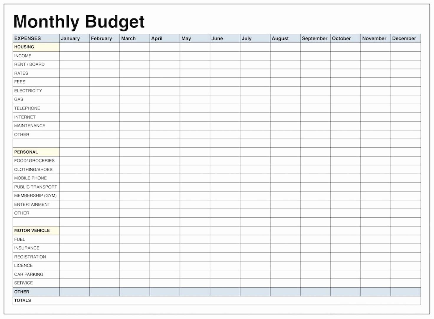 Household Budget Template Pdf New Blank Monthly Bud Template Pdf