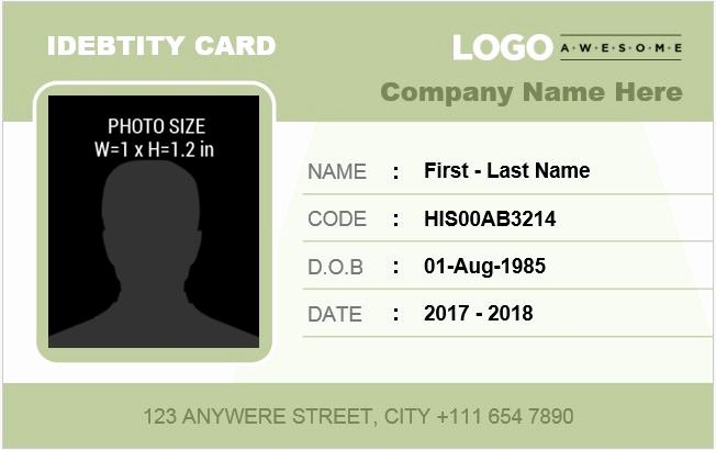 Id Card Template Word Awesome Employee Identification Card Templates Ms Word