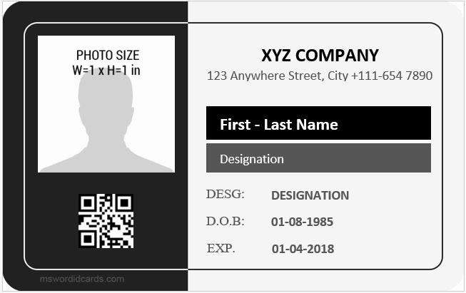 Id Card Template Word Fresh Employee Id Card Templates