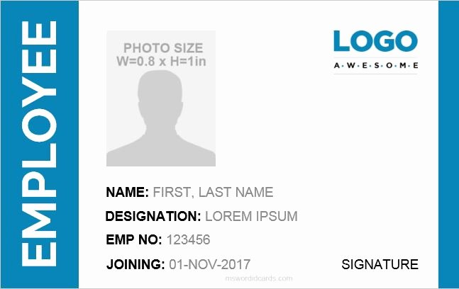 Id Card Template Word Inspirational Id Card Template Word 5 Professional Designs