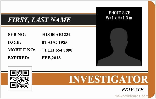 Id Card Template Word Unique 5 Best Investigator Id Card Templates Ms Word