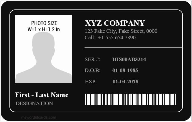 Id Card Template Word Unique Employee Id Card Templates