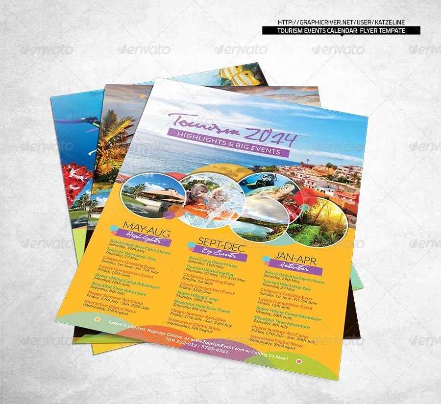 In Design Calendar Template Inspirational tourism events Calendar Flyer Template Shop