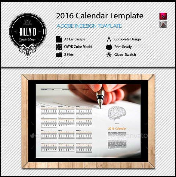 In Design Calendar Template Luxury 2016 Calendar Template – 46 Free Word Pdf Psd Eps Ai