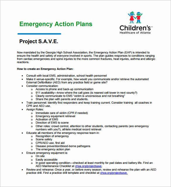 Incident Action Plan Template Awesome Emergency Action Plan Template 9 Free Sample Example
