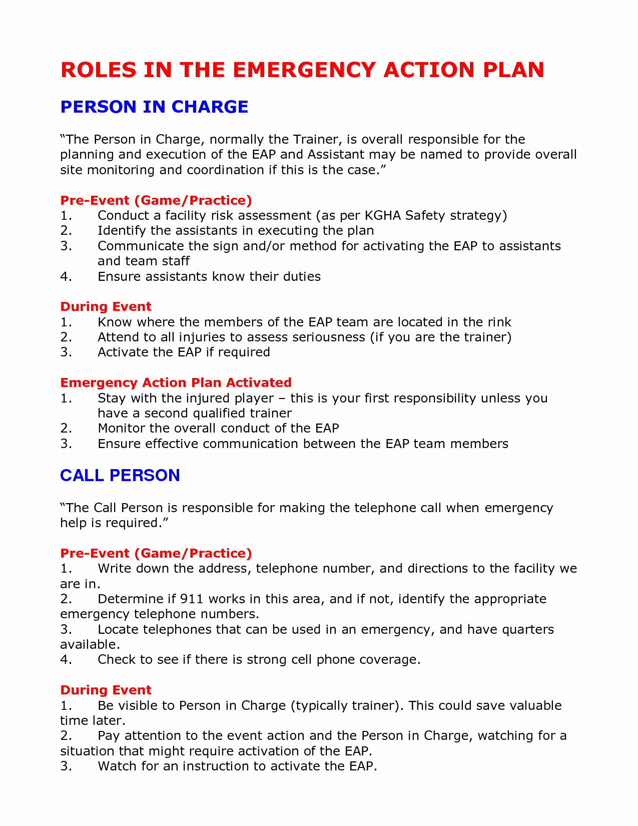 Incident Action Plan Template Elegant Emergency Action Plan Template