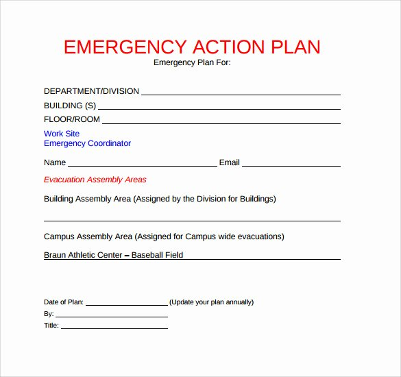Incident Action Plan Template Elegant Sample Emergency Action Plan 11 Free Documents In Word Pdf